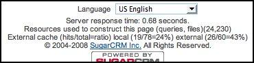Screenshot of status info