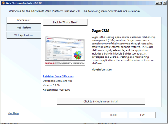 SugarCRM in the Microsoft Web Platform Installer