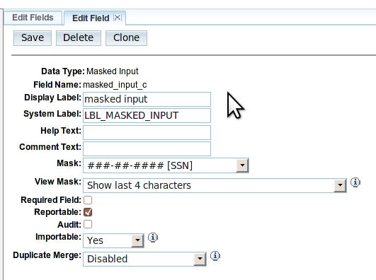 "Studio ""Edit Field"" screen"