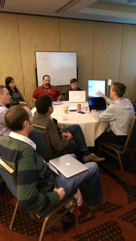 Jelle (Sugar Architect) discussing Elasticsearch with UnCon attendees