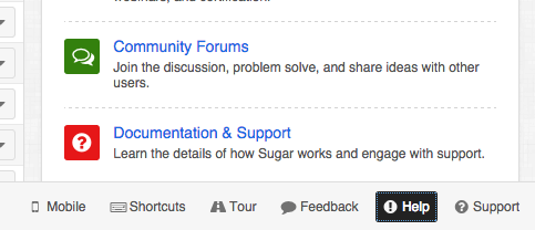 Help button in the Sugar 7 application footer