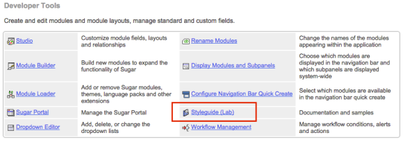 Finding Styleguide in the Admin panel