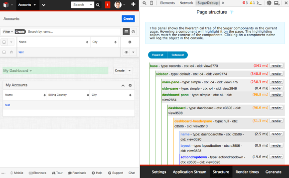 Hover over component in structure to highlight it on the page
