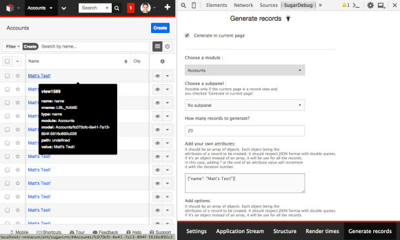 Generating records into Account's module