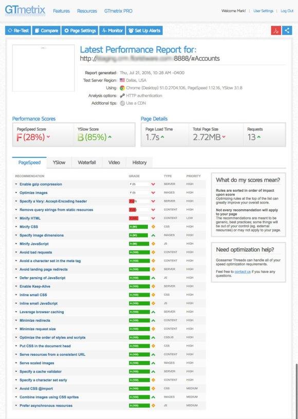 optimize-SugarCRM-cloudflare-cdn-02-gtmetrix-test-results