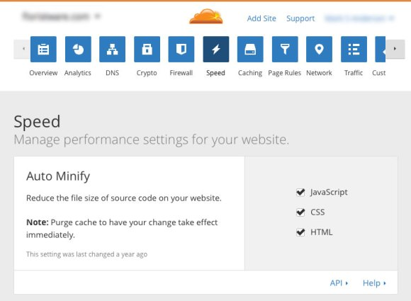 optimize-SugarCRM-cloudflare-cdn-06-minify-settings